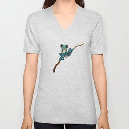 Cute Blue Tree Frog on a Branch Unisex V-Neck