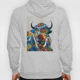 Colorful Buffalo Art - Sacred - By Sharon Cummings Hoody
