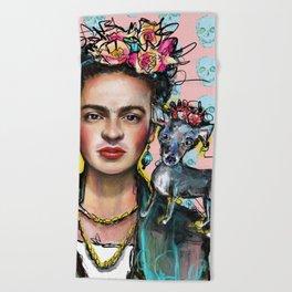 Frida + Perrito Beach Towel