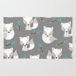 ARCTIC FOXES ON GREY Rug