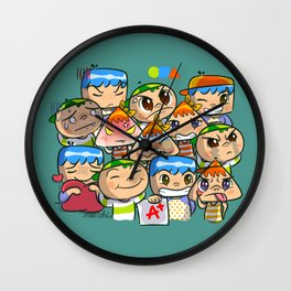 character of sticker line Wall Clock