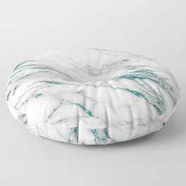 Gray Marble Aqua Teal Metallic Glitter Foil Style Floor Pillow