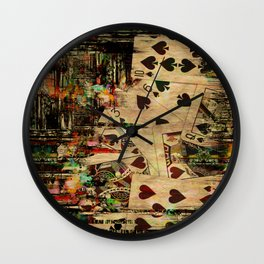 Abstract Vintage Playing cards  Digital Art Wall Clock