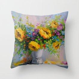 Bouquet de fleurs jaunes Throw Pillow
