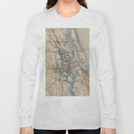 Vintage Map of St. Augustine Florida (1937) Long Sleeve T-shirt