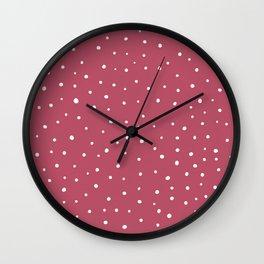 Snow polka dot on pink rose Wall Clock