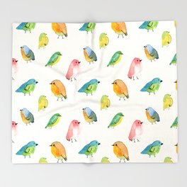Watercolor Birds Pattern Throw Blanket