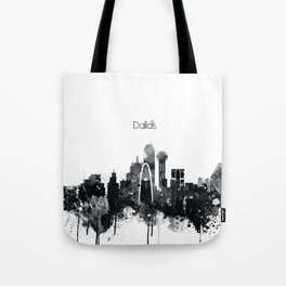 Dallas TexasBlack White Skyline Poster Tote Bag