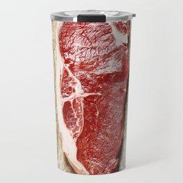 Raw beef steak on a dark slate background Travel Mug