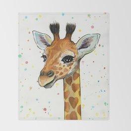 Giraffe Baby Animal with Hearts Watercolor Throw Blanket