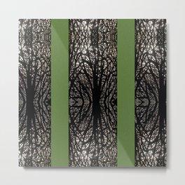 Gothic tree striped pattern green Metal Print