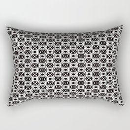 Black and White Modern Alternating Square Pattern Rectangular Pillow