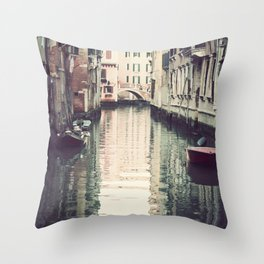 Boats in Venice Throw Pillow
