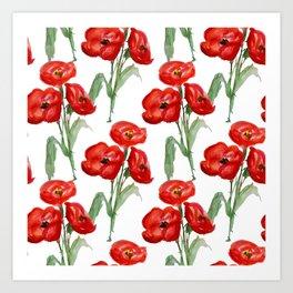 Watercolor Red Poppies Art Print