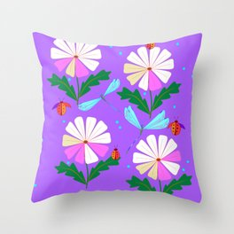 A Spring Rain on Daisies with Lady Bugs and Dragonflies Throw Pillow