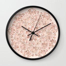 Mandala Seashell Rose Gold Coral Pink Wall Clock