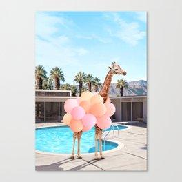 Giraffe Palm Springs Canvas Print