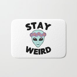 Stay Weird Alien Head Bath Mat