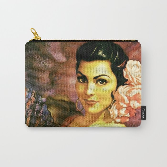 Jesus Helguera Painting of a Mexican Calendar Girl with Fan Carry-All Pouch