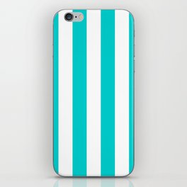 Vertical Stripes - White and Cyan iPhone Skin