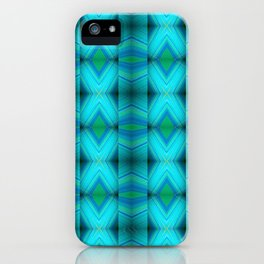 Aqua Blue Green Diamond Pattern Design iPhone Case