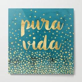 Pura Vida Gold on Teal Metal Print