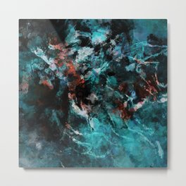 Abstract and Modern Teal Painting Metal Print