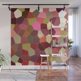Red and Gold Festive Dazzle Stained Glass Abstract Wall Mural