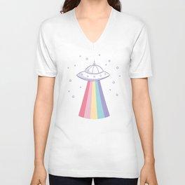 Colorful rainbow space ufo Unisex V-Neck