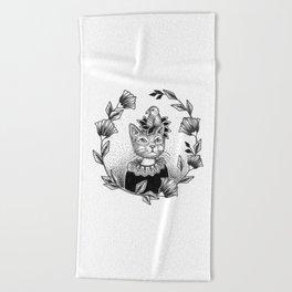 Cat Set 01 Ink Drawings - Cat and Bird Beach Towel