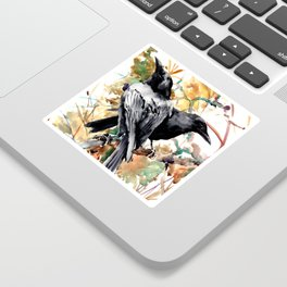 Ravens in the Fall, raven wall art Sticker
