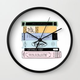 Jane Austen Book Stack in Colour Wall Clock