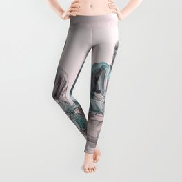 Peace and Harmony watercolor buddha pastel illustration Leggings