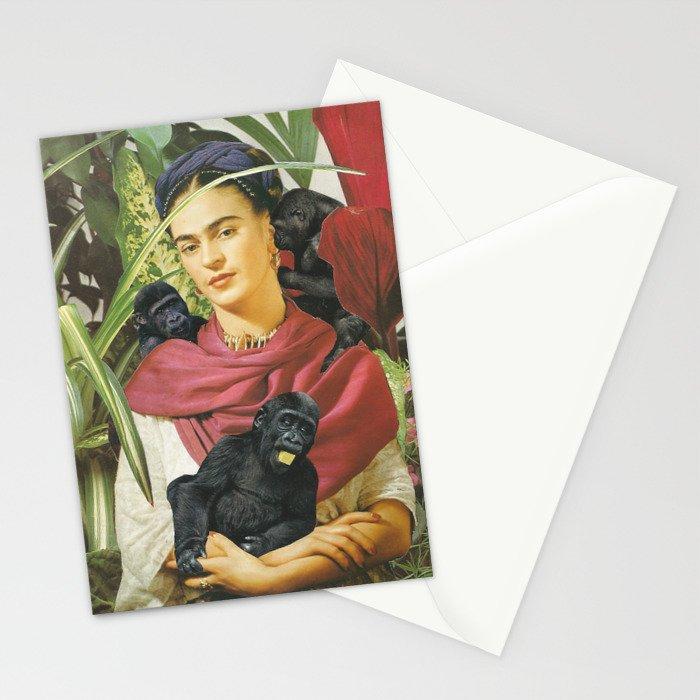 Frida Kahlo Self Portrait With Monkeys Recreated Stationery Cards
