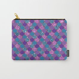 Pink Purple Blue Mermaid Scales Glitter Colorful Carry-All Pouch