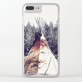 Tipi With Painted Elk And Birds Clear iPhone Case