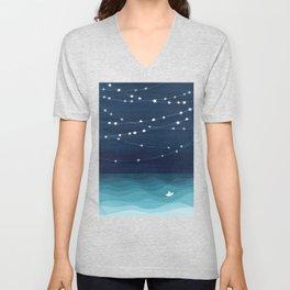 Garlands of stars, watercolor teal ocean Unisex V-Neck
