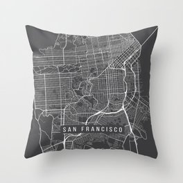 San Francisco Map, California USA - Charcoal Portrait Throw Pillow