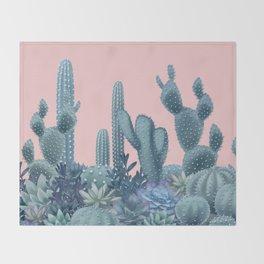 Milagritos Cacti on Rose Quartz Background Throw Blanket