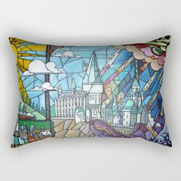 Hogwarts stained glass style Rectangular Pillow