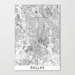 Dallas White Map Canvas Print