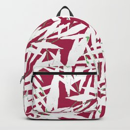 white leave in red background Backpack