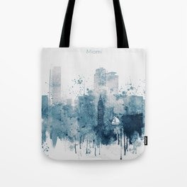 Blue Miami watercolor skyline design Tote Bag