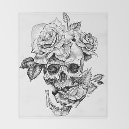 Black and White skull with roses pen drawing Throw Blanket