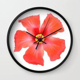 Tropical Hibiscus Flower Vector Wall Clock