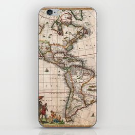 1658 Map of North America and South America with 2015 enhancements iPhone Skin