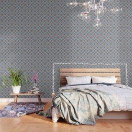 Iznik Tile Pattern Blue White Brown Wallpaper