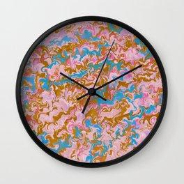 Rose Quartz & Gold Marble Wall Clock
