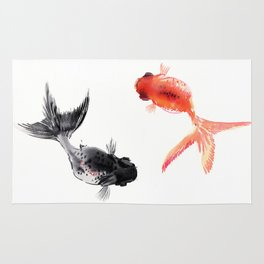 Two KOI , Feng Shui, Fish art, Rug