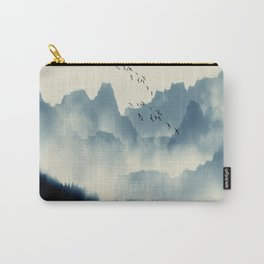 Abstract Landscape, Foggy Blue Mountain Range, Scenery Mural Carry-All Pouch